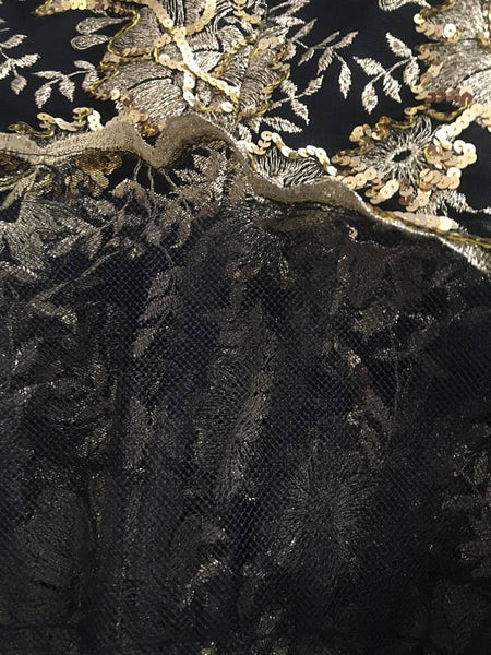 Vintage William Pearson Black Mesh Mini Cocktail Evening Dress with Long Sleeves, Metallic Gold Floral Embroidery and Sequins