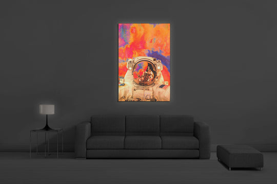 Astronaut in Space Backlit Art 36 x 54