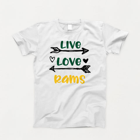 Holy Rosary Live Love Rams - White Short Sleeve T-Shirt