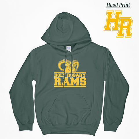 Holy Rosary LOGO B - Dark Green Hooded Sweatshirt