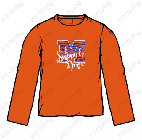 Memorial Tiger Swim - Comfort Colors Orange Long Sleeve