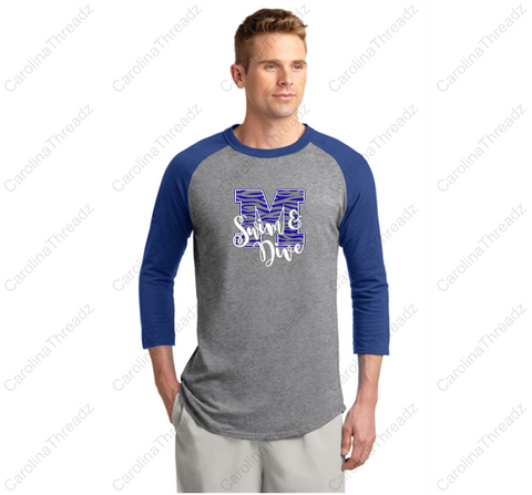 Memorial Tiger Swim - Raglan 3/4 sleeve