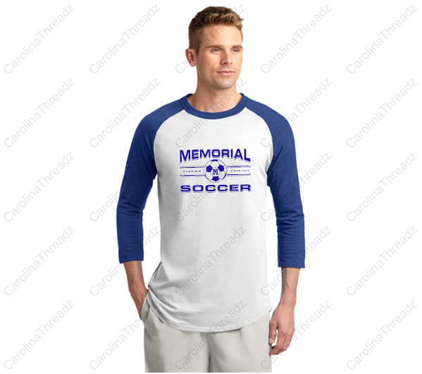 Memorial Tiger Soccer - Raglan 3/4 Sleeve Since 1977