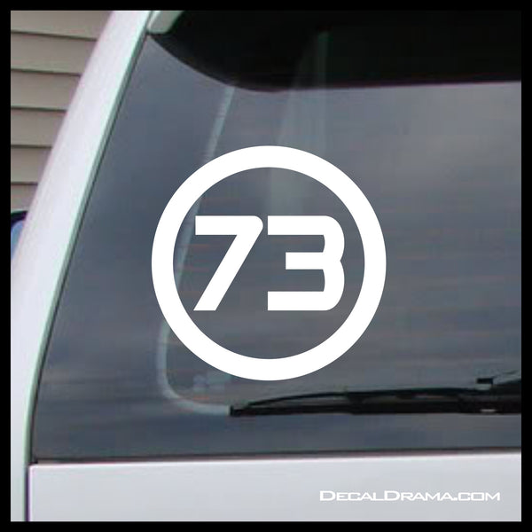 Best Number 73, Sheldon Cooper, The Big Bang Theory-inspired Fan Art Vinyl Car/Laptop Decal