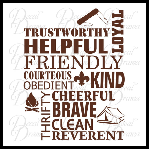 Boy Scout Law Trustworthy Loyal Helpful Friendly Courteous Kind Obedient Cheerful Thrifty Brave Clean Reverent, BSA Vinyl Wall Decal