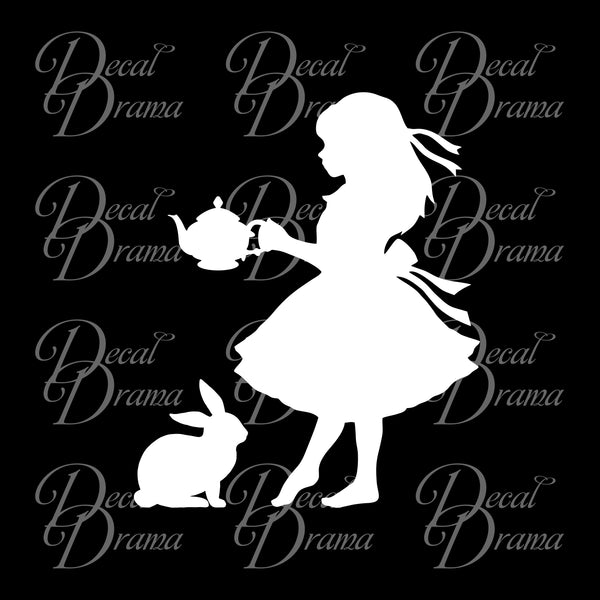 Alice & White Rabbit, Alice in Wonderland-inspired Vinyl Car/Laptop Decal