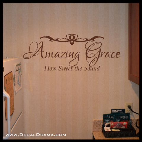 Amazing Grace, How Sweet the Sound, Sacred lyric Vinyl Wall Decal