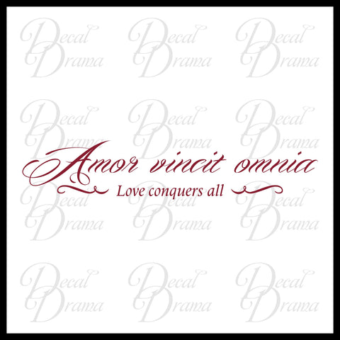 Amor Vincit Omnia Love Conquers All Latin Romantic Quote With Embellishments Vinyl Wall Decal
