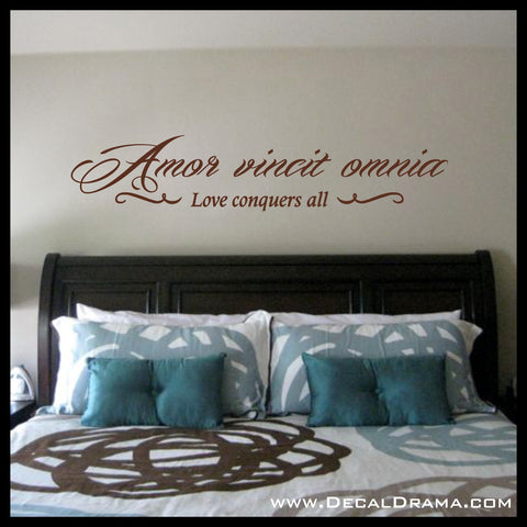 Amor Vincit Omnia, LOVE Conquers All, Latin Romantic quote with embellishments Vinyl Wall Decal