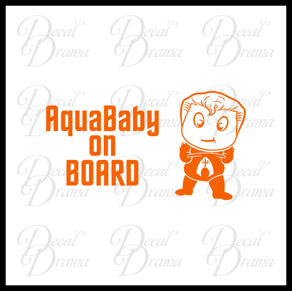 AquaBaby on BOARD with Baby Aquaman Fan Art Vinyl Car/Laptop Decal