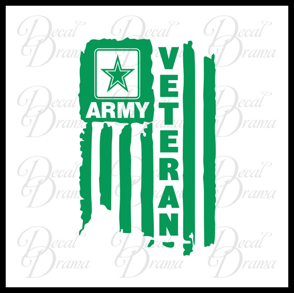 US ARMY Veteran, Weathered United States Flag Vinyl Car/Laptop Decal