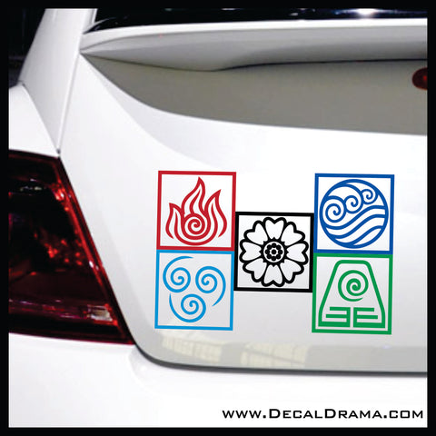 Avatar Element symbol SET, The Last Airbender-inspired Vinyl Car/Laptop Decals