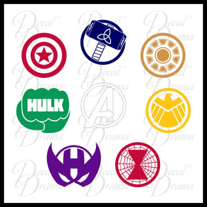 Avengers emblems SET, Marvel Comics-inspired Vinyl Car/Laptop Decal