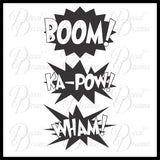 BOOM, Ka-POW, WHAM - Graphic Novel Comic Book Expletives Vinyl Wall Decal