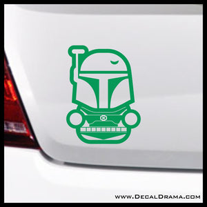 Baby Boba Fett Chibi, Star Wars-Inspired Fan Art Vinyl Wall Decal