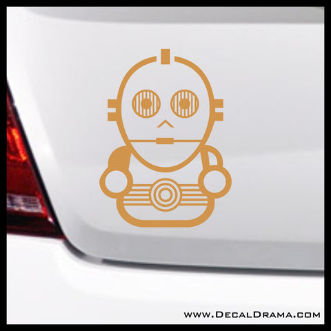 Baby Droid C3PO Chibi, Star Wars-Inspired Fan Art Vinyl Wall Decal