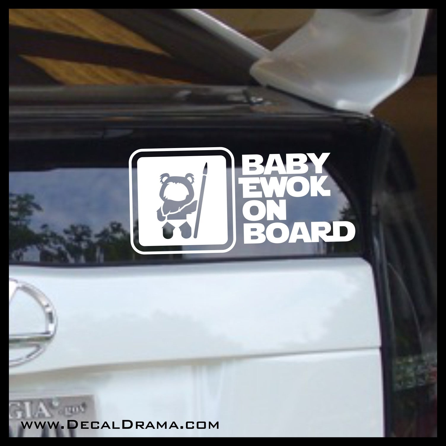 Baby Ewok on Board, Star Wars-Inspired Fan Art Vinyl Wall Decal