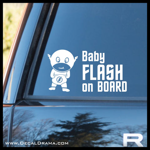 Baby Flash on Board, Justice League-inspired Fan Art Vinyl Car/Laptop Decal