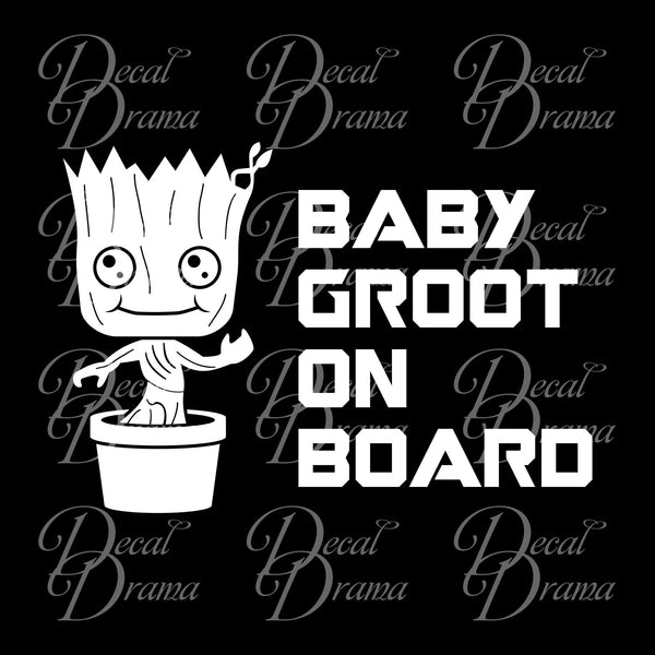 Baby Groot on Board, Guardians of the Galaxy-inspired Fan Art Vinyl Car/Laptop Decal