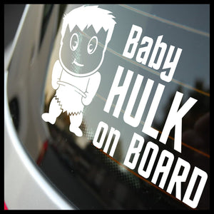 Baby Hulk on Board, Marvel Comics-Inspired Fan Art Vinyl Car/Laptop Decal