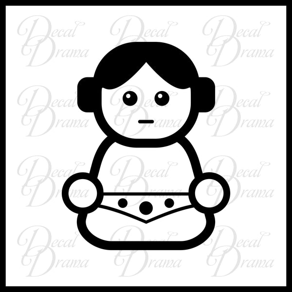 Baby Princess Leia Chibi, Star Wars-Inspired Fan Art Vinyl Car/Laptop Decal