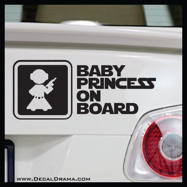 Baby Princess on Board, Star Wars-Inspired Fan Art Vinyl Wall Decal