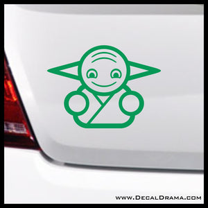Baby Jedi Master Yoda Chibi, Star Wars-Inspired Fan Art Vinyl Wall Decal