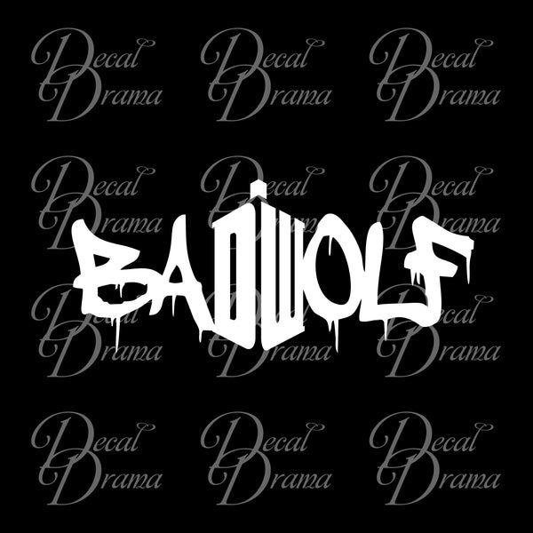 Bad Wolf DW graffiti from Doctor Who Vinyl Car/Laptop Decal