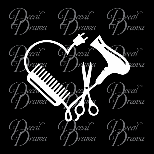 Hair Stylist Heart, Beauty Salon Vinyl Decal