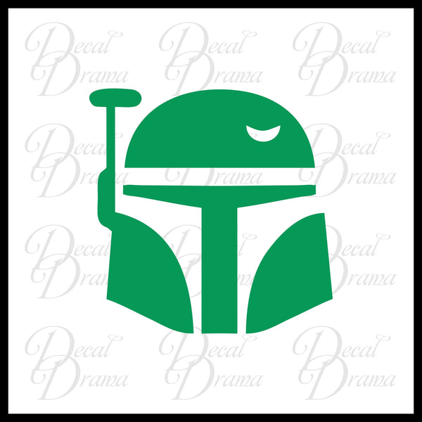 Boba Fett Helmet, Star Wars-Inspired Fan Art Vinyl Wall Decal