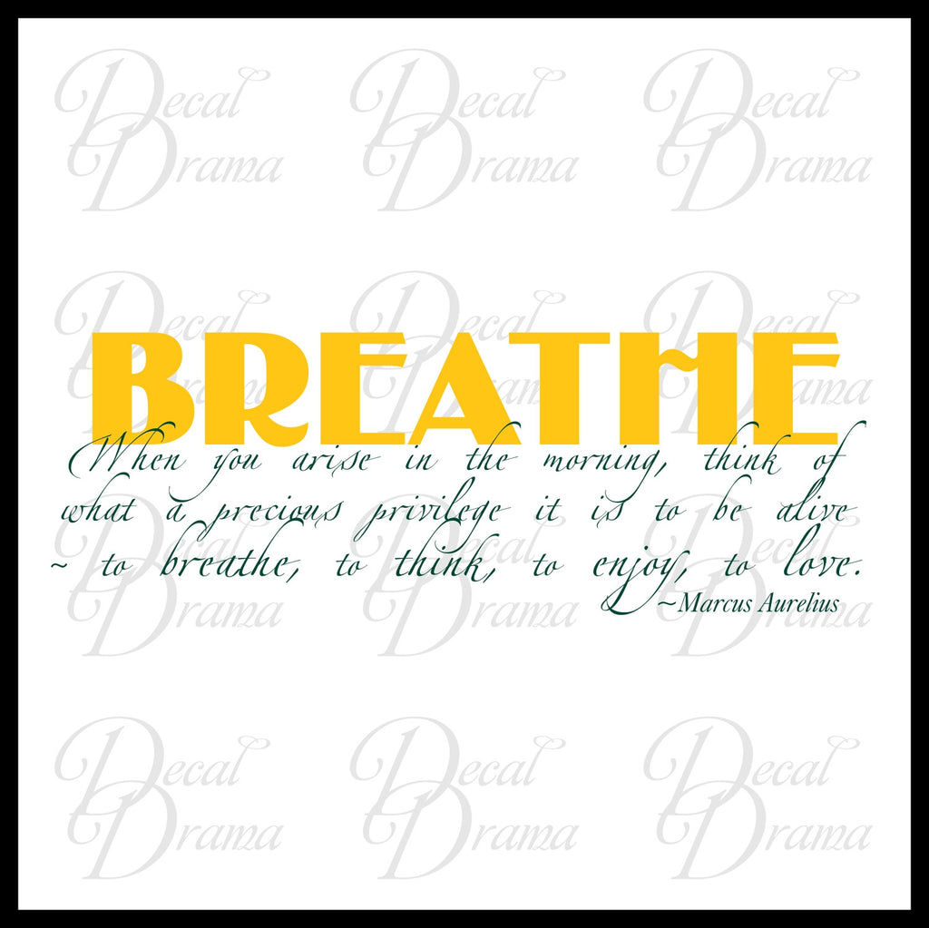 Breathe When You Arise In The Morning Marcus Aurelius Vinyl Wall