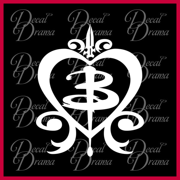 "Buffy ""B"" in Heart Stake & Knife, Buffy the Vampire Slayer-inspired Vinyl Car/Laptop Decal"