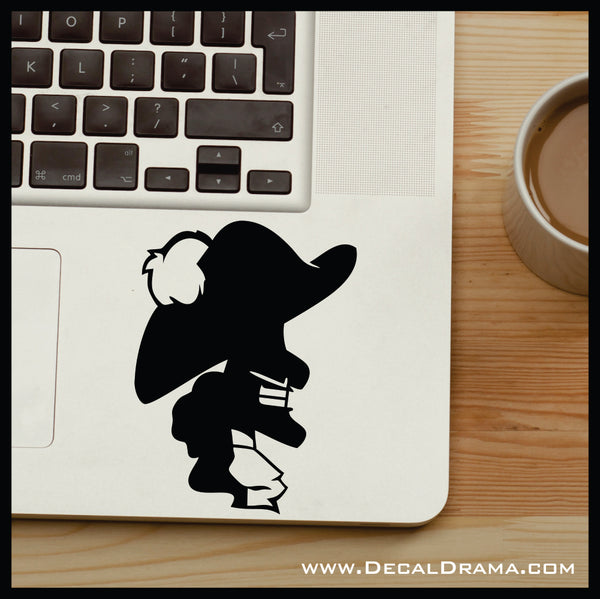 Captain Hook silhouette, Peter Pan Villain, Vinyl Car/Laptop Decal