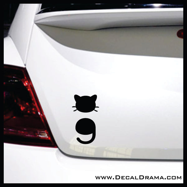 Cat Semi-Colon Vinyl Car/Laptop Decal