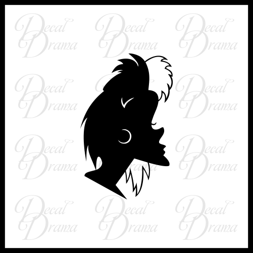 Cruella De Vil silhouette, 101 Dalmatians Villain, Vinyl Car/Laptop Decal