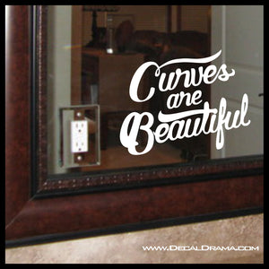 Curves Are Beautiful, Mirror Motivator Vinyl Decal