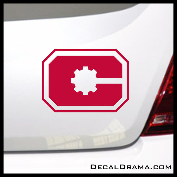 Cyborg Gear emblem, DC Comics-inspired Justice League Fan Art Vinyl Car/Laptop Decal
