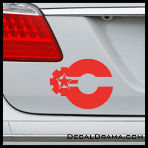 Cyborg Star Gear emblem, DC Comics-inspired Justice League Fan Art Vinyl Car/Laptop Decal