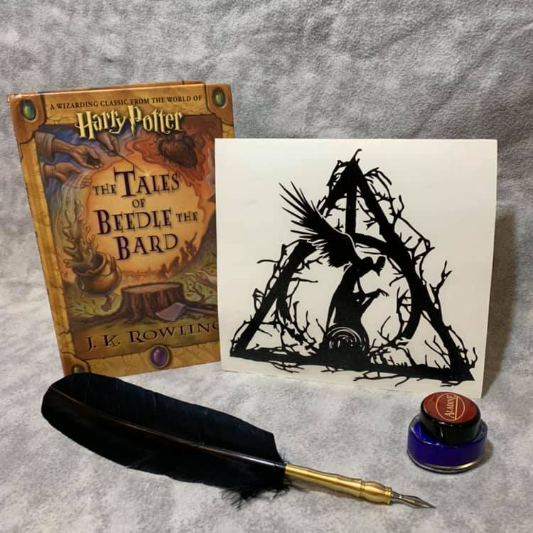 Death Awaits, vinyl decal inspired by The Tales of Beedle the Bard by JK Rowling