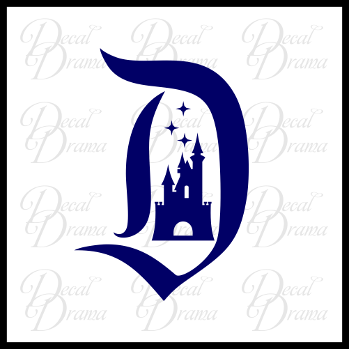 Classic Disneyland D and Castle Disney-inspired Fan Art Vinyl Car/Laptop Decal