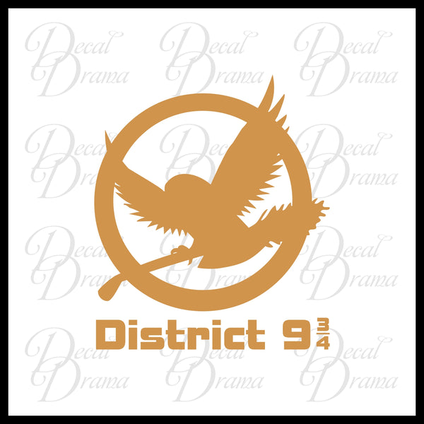 District 9-3/4, Harry Potter Hunger Games-inspired Fan Art, Vinyl Car/Laptop Decal