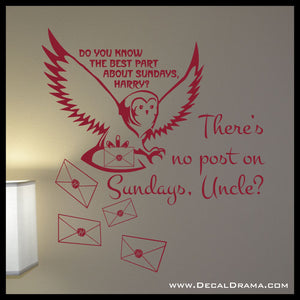 No Post on Sundays with Owl and Hogwart's letters graphic, Harry-Potter-Inspired Fan Art Vinyl Wall Decal