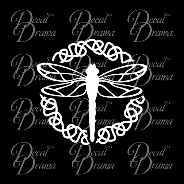 Dragonfly inside Celtic Knot, Outlander-inspired Vinyl Car/Laptop Decal