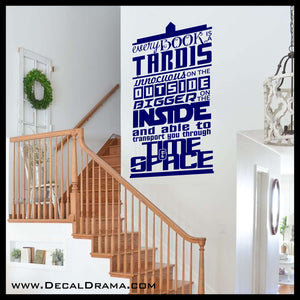 Every Book is a TARDIS Innocuous on the Outside Bigger on the Inside, inspired by Doctor Who, Vinyl Wall Decal