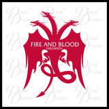 Fire and Blood Targaryen Dragon GoT Game of Thrones-inspired Vinyl Car/Laptop Decal