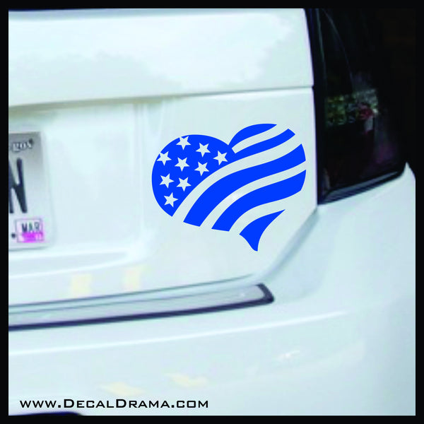 United States Flag Heart vinyl car/laptop decal