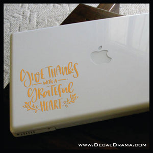 Give Thanks with a Grateful Heart Mirror Motivator Vinyl Decal