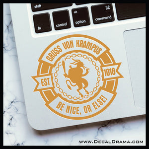 Gruss von Krampus, Be Nice or Else! Vinyl Car/Laptop Decal