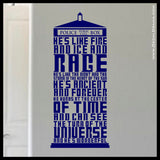 He's Like FIRE and ICE and RAGE, Doctor Who-inspired, TARDIS, 10th Doctor, Vinyl Wall Decal