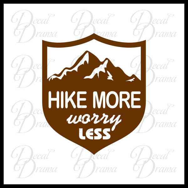 Hike More Worry Less badge, Nature Calls Outdoor Motivation Vinyl Car/Laptop Decal